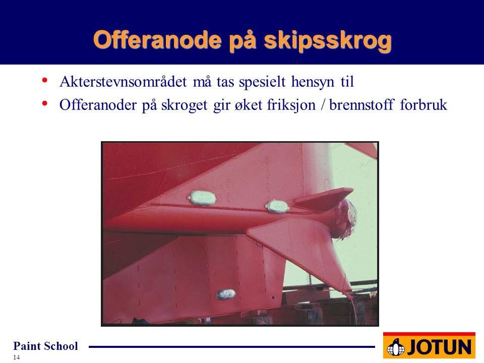 Paint School 14 Offeranode på skipsskrog Akterstevnsområdet må tas spesielt hensyn til Offeranoder på skroget gir øket friksjon / brennstoff forbruk C