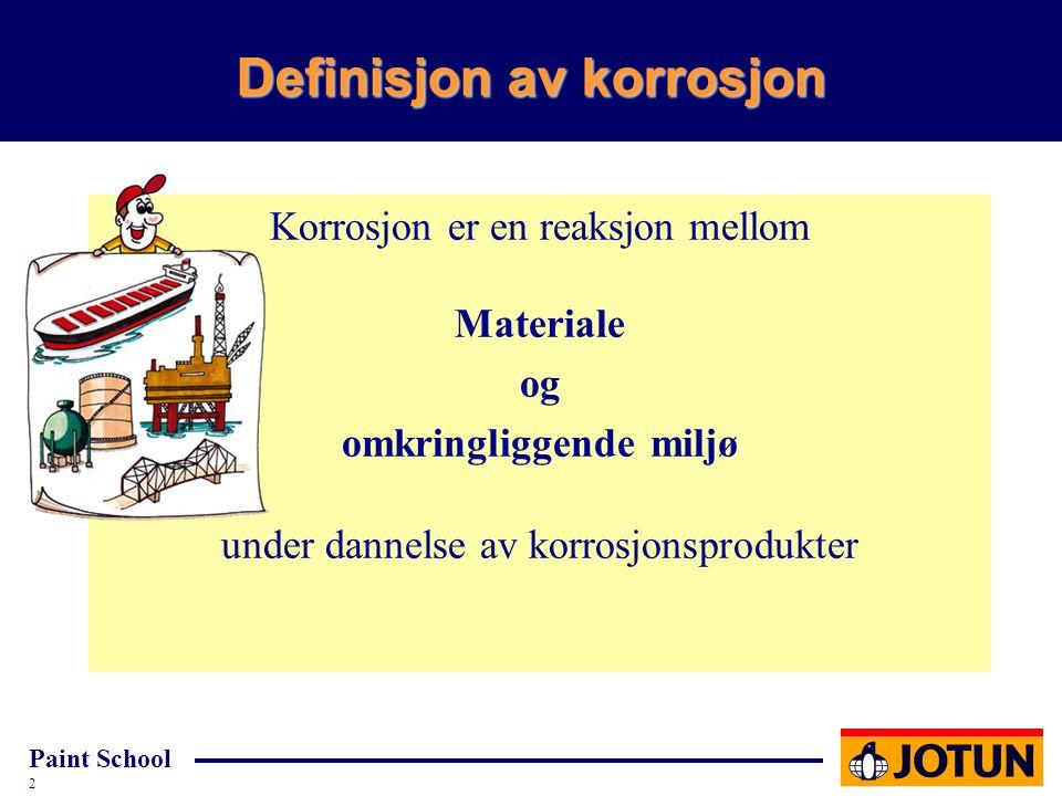 Paint School 2 Definisjon av korrosjon Korrosjon er en reaksjon mellom Materiale og omkringliggende miljø under dannelse av korrosjonsprodukter