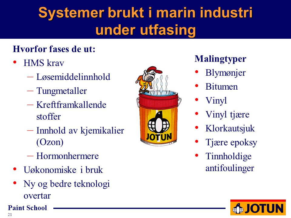 Paint School 21 Systemer brukt i marin industri under utfasing Malingtyper Blymønjer Bitumen Vinyl Vinyl tjære Klorkautsjuk Tjære epoksy Tinnholdige a