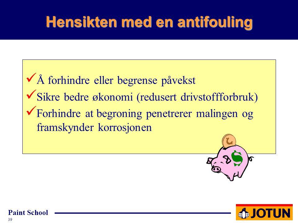 Paint School 39 Hensikten med en antifouling Å forhindre eller begrense påvekst Sikre bedre økonomi (redusert drivstoffforbruk) Forhindre at begroning