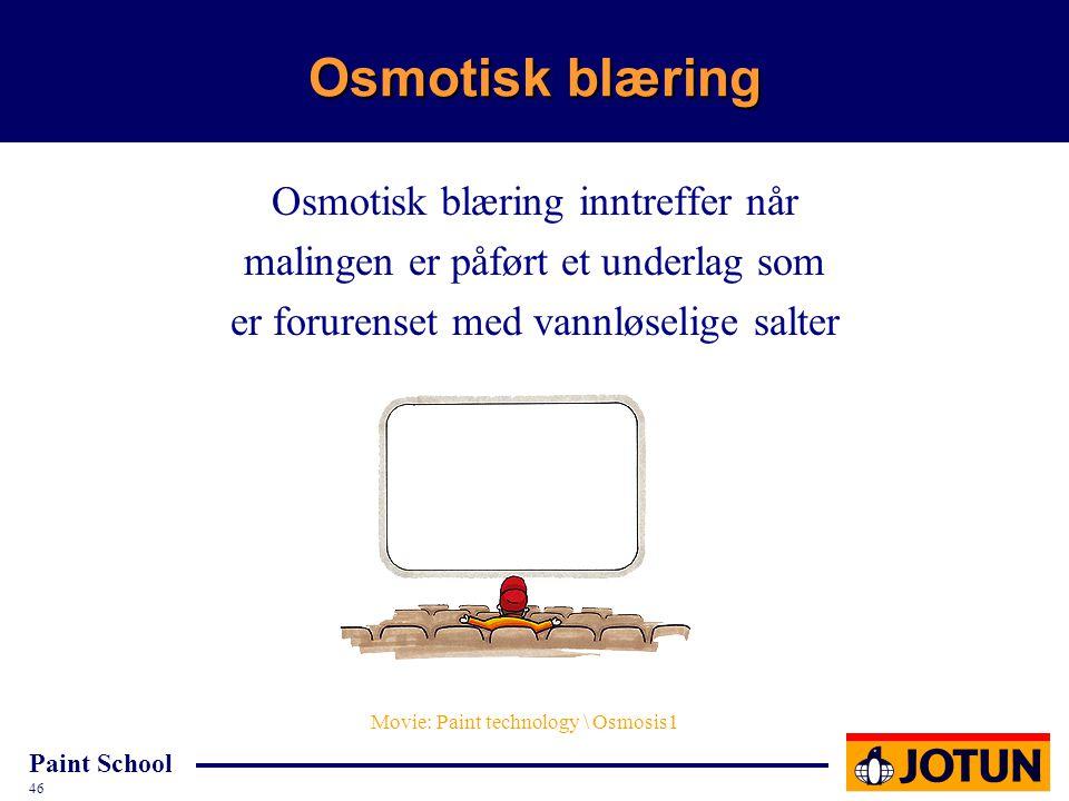 Paint School 46 Osmotisk blæring Osmotisk blæring inntreffer når malingen er påført et underlag som er forurenset med vannløselige salter Movie: Paint