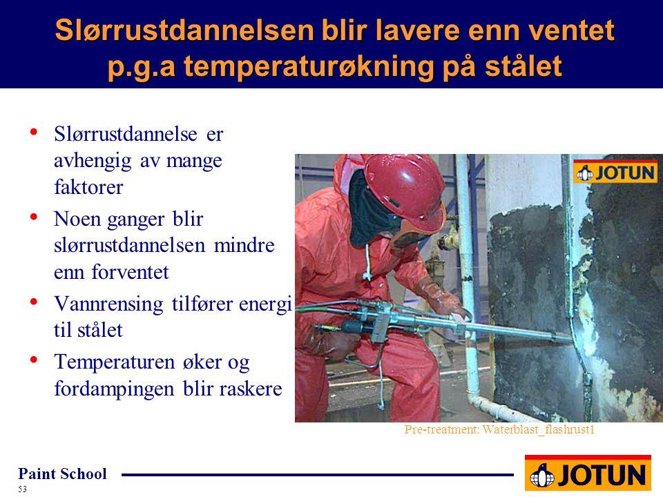Paint School 53 Slørrustdannelsen blir lavere enn ventet p.g.a temperaturøkning på stålet Slørrustdannelse er avhengig av mange faktorer Noen ganger b