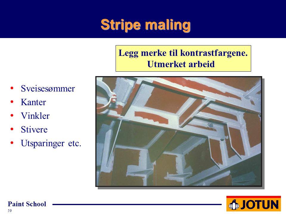 Paint School 59 Stripe maling Cd-4934-91 Sveisesømmer Kanter Vinkler Stivere Utsparinger etc. Legg merke til kontrastfargene. Utmerket arbeid