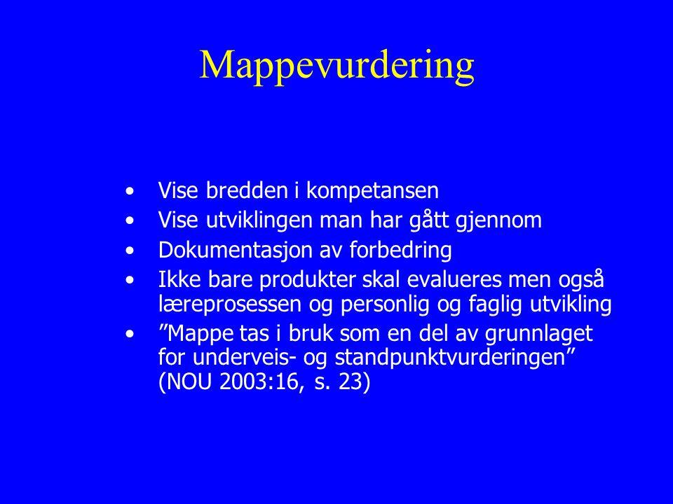 Mappevurdering Vise bredden i kompetansen Vise utviklingen man har gått gjennom Dokumentasjon av forbedring Ikke bare produkter skal evalueres men også læreprosessen og personlig og faglig utvikling Mappe tas i bruk som en del av grunnlaget for underveis- og standpunktvurderingen (NOU 2003:16, s.