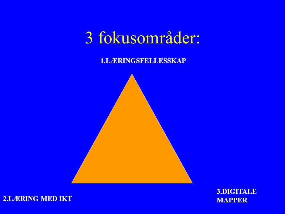 3 fokusområder: 1.LÆRINGSFELLESSKAP 2.LÆRING MED IKT 3.DIGITALE MAPPER