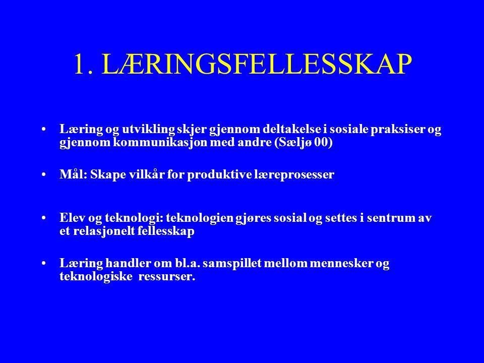 1. LÆRINGSFELLESSKAP Læring og utvikling skjer gjennom deltakelse i sosiale praksiser og gjennom kommunikasjon med andre (Sæljø 00) Mål: Skape vilkår
