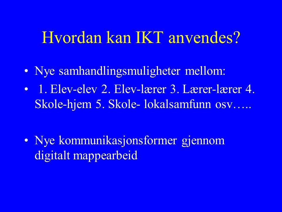 Hvordan kan IKT anvendes.Nye samhandlingsmuligheter mellom: 1.