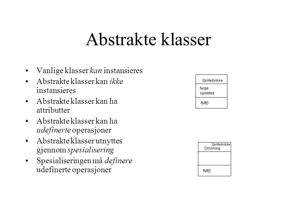 Abstrakte klasser Vanlige klasser kan instansieres Abstrakte klasser kan ikke instansieres Abstrakte klasser kan ha attributter Abstrakte klasser kan ha udefinerte operasjoner Abstrakte klasser utnyttes gjennom spesialisering Spesialiseringen må definere udefinerte operasjoner