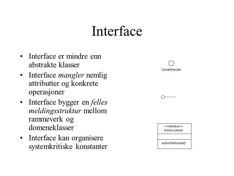 Interface Interface er mindre enn abstrakte klasser Interface mangler nemlig attributter og konkrete operasjoner Interface bygger en felles meldingsstruktur mellom rammeverk og domeneklasser Interface kan organisere systemkritiske konstanter