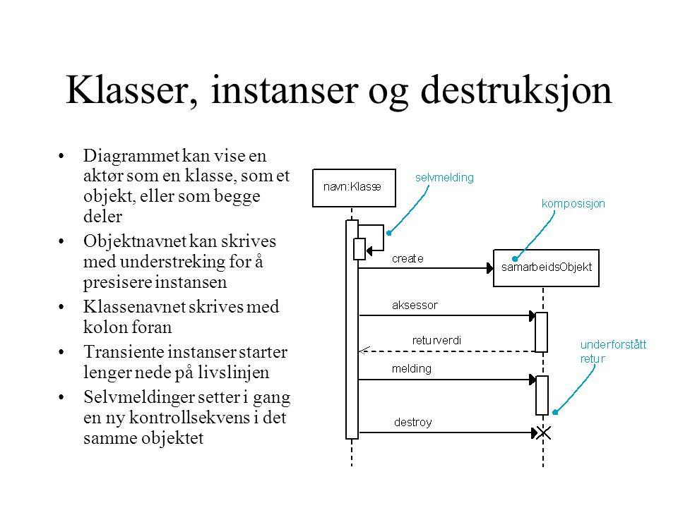 Klasser, instanser og destruksjon Diagrammet kan vise en aktør som en klasse, som et objekt, eller som begge deler Objektnavnet kan skrives med unders
