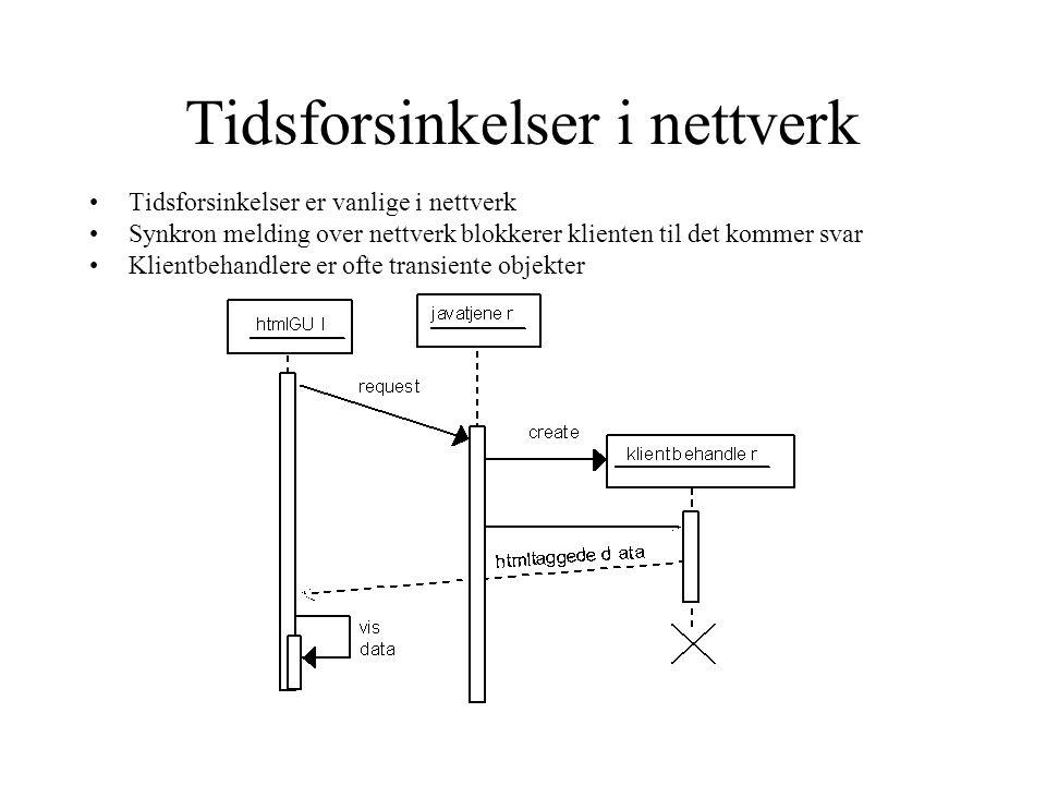 Tidsforsinkelser i nettverk Tidsforsinkelser er vanlige i nettverk Synkron melding over nettverk blokkerer klienten til det kommer svar Klientbehandle