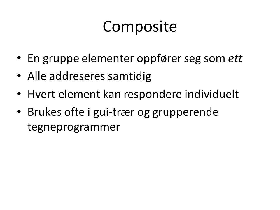 Composite En gruppe elementer oppfører seg som ett Alle addreseres samtidig Hvert element kan respondere individuelt Brukes ofte i gui-trær og grupperende tegneprogrammer