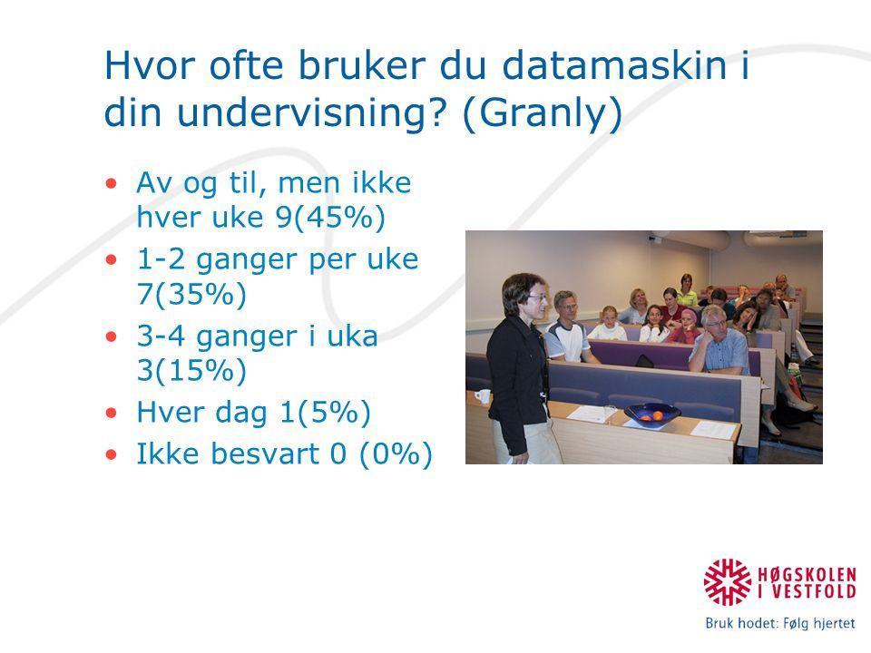 Hvor ofte bruker du datamaskin i din undervisning? (Granly) Av og til, men ikke hver uke 9(45%) 1-2 ganger per uke 7(35%) 3-4 ganger i uka 3(15%) Hver