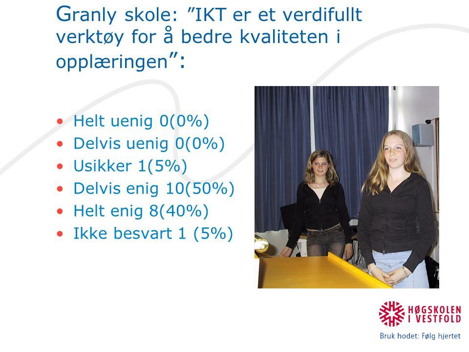 G ranly skole: IKT er et verdifullt verktøy for å bedre kvaliteten i opplæringen : Helt uenig 0(0%) Delvis uenig 0(0%) Usikker 1(5%) Delvis enig 10(50%) Helt enig 8(40%) Ikke besvart 1 (5%)