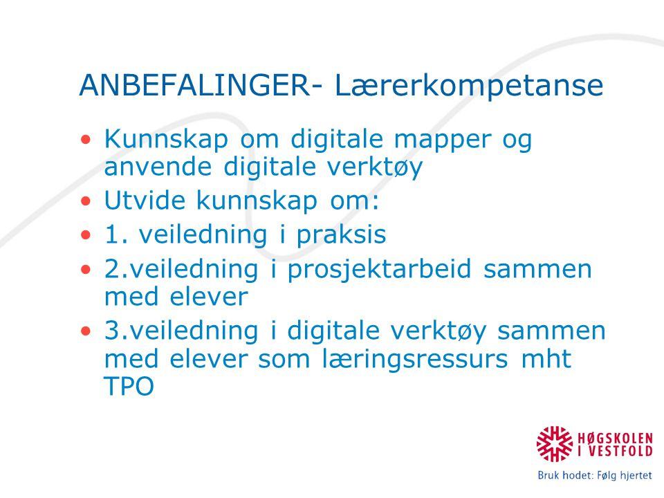 ANBEFALINGER- Lærerkompetanse Kunnskap om digitale mapper og anvende digitale verktøy Utvide kunnskap om: 1. veiledning i praksis 2.veiledning i prosj