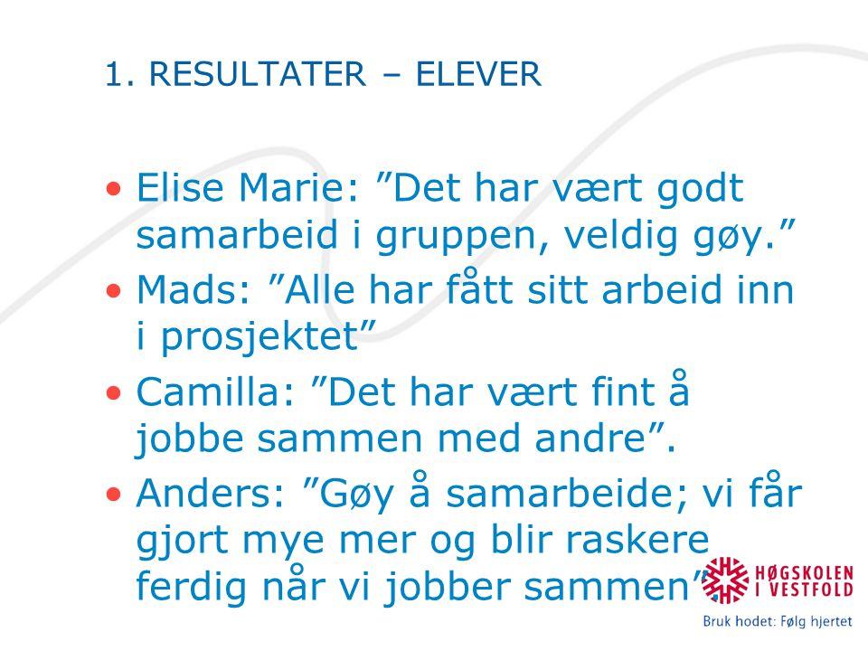 """1. RESULTATER – ELEVER Elise Marie: """"Det har vært godt samarbeid i gruppen, veldig gøy."""" Mads: """"Alle har fått sitt arbeid inn i prosjektet"""" Camilla: """""""