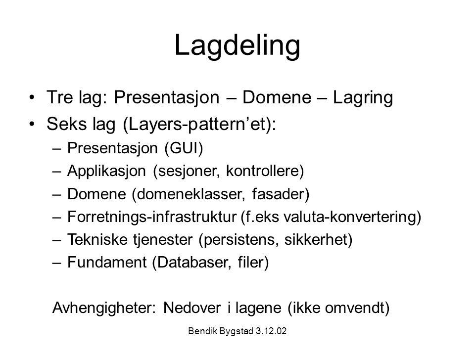 Bendik Bygstad 3.12.02 Lagdeling Tre lag: Presentasjon – Domene – Lagring Seks lag (Layers-pattern'et): –Presentasjon (GUI) –Applikasjon (sesjoner, kontrollere) –Domene (domeneklasser, fasader) –Forretnings-infrastruktur (f.eks valuta-konvertering) –Tekniske tjenester (persistens, sikkerhet) –Fundament (Databaser, filer) Avhengigheter: Nedover i lagene (ikke omvendt)