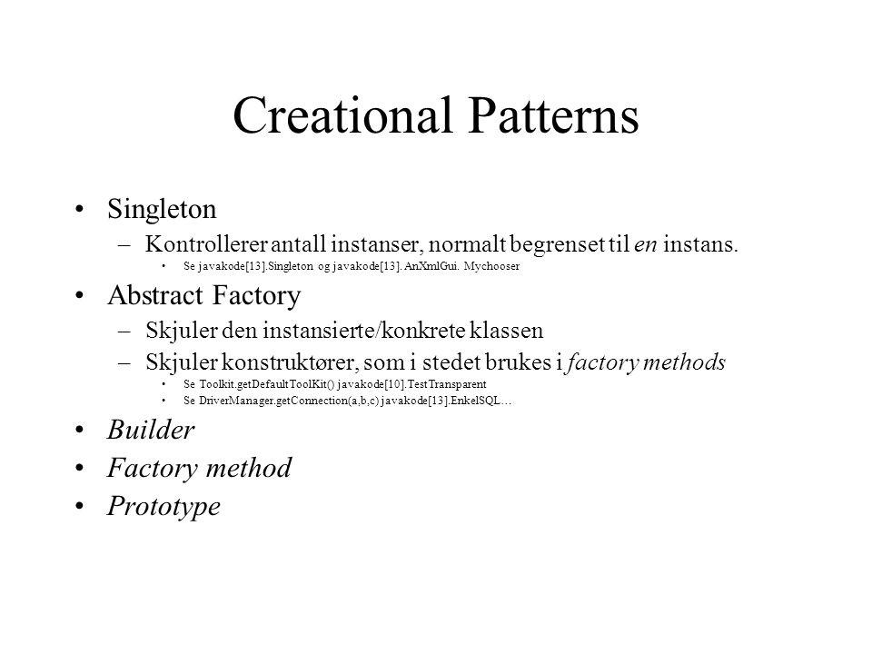Creational Patterns Singleton –Kontrollerer antall instanser, normalt begrenset til en instans.