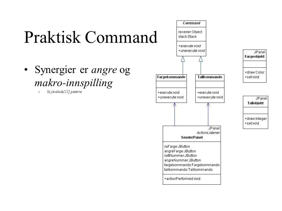 Praktisk Command Synergier er angre og makro-innspilling –Se javakode[13].patterns