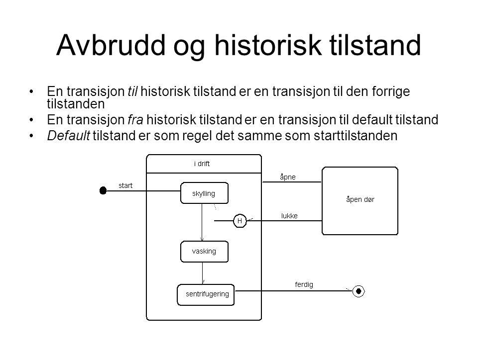 Avbrudd og historisk tilstand En transisjon til historisk tilstand er en transisjon til den forrige tilstanden En transisjon fra historisk tilstand er