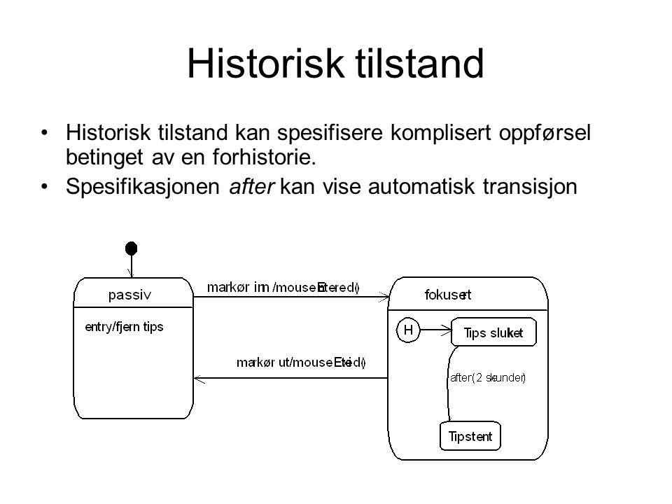 Historisk tilstand Historisk tilstand kan spesifisere komplisert oppførsel betinget av en forhistorie. Spesifikasjonen after kan vise automatisk trans