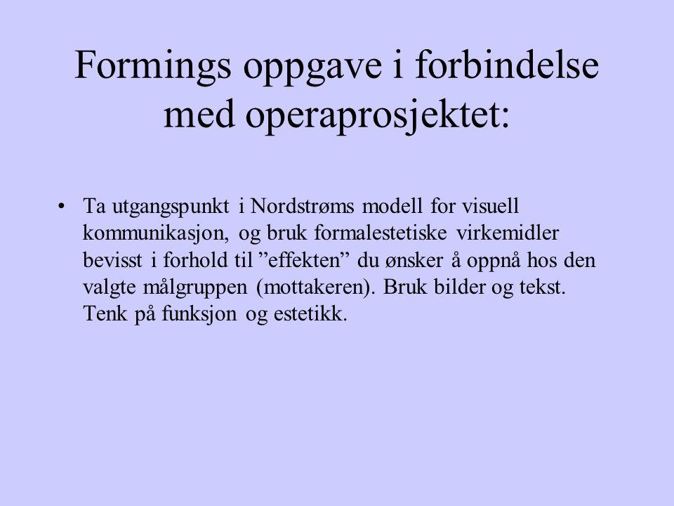 Formings oppgave i forbindelse med operaprosjektet: Ta utgangspunkt i Nordstrøms modell for visuell kommunikasjon, og bruk formalestetiske virkemidler