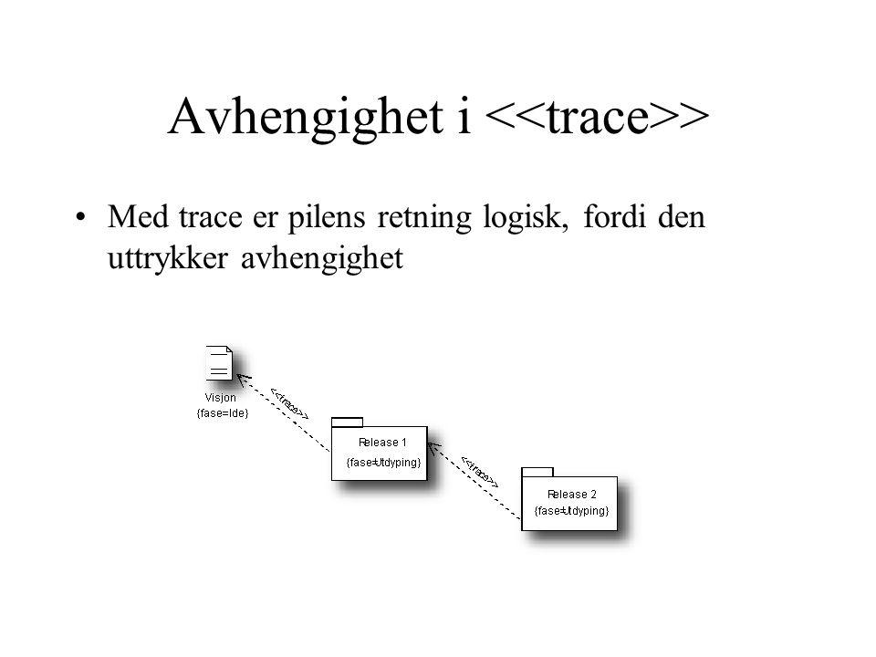 Avhengighet i > Med trace er pilens retning logisk, fordi den uttrykker avhengighet