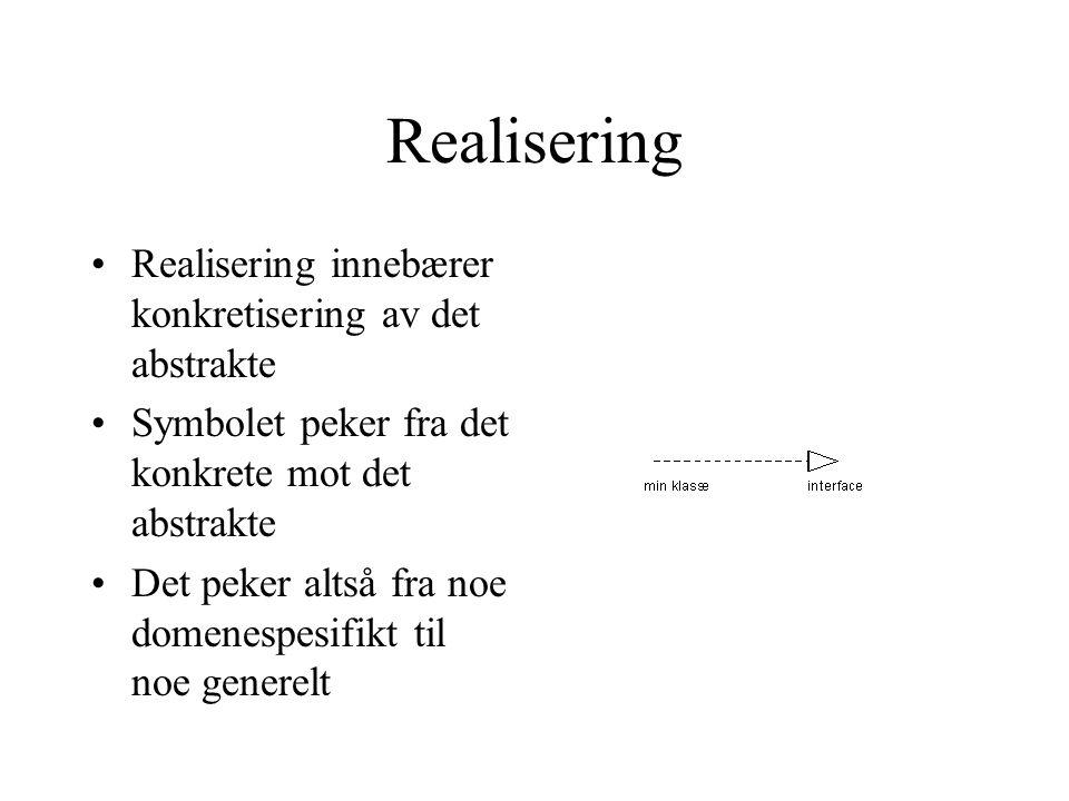 Realisering Realisering innebærer konkretisering av det abstrakte Symbolet peker fra det konkrete mot det abstrakte Det peker altså fra noe domenespes