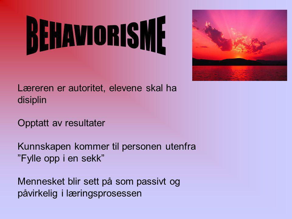 Behavioristisk menneskesyn mennesket er et objekt og passivt