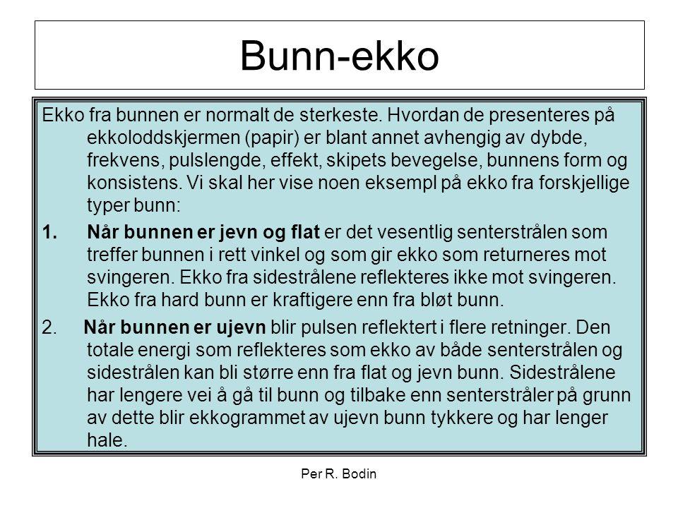 Per R. Bodin Bunn-ekko Ekko fra bunnen er normalt de sterkeste. Hvordan de presenteres på ekkoloddskjermen (papir) er blant annet avhengig av dybde, f