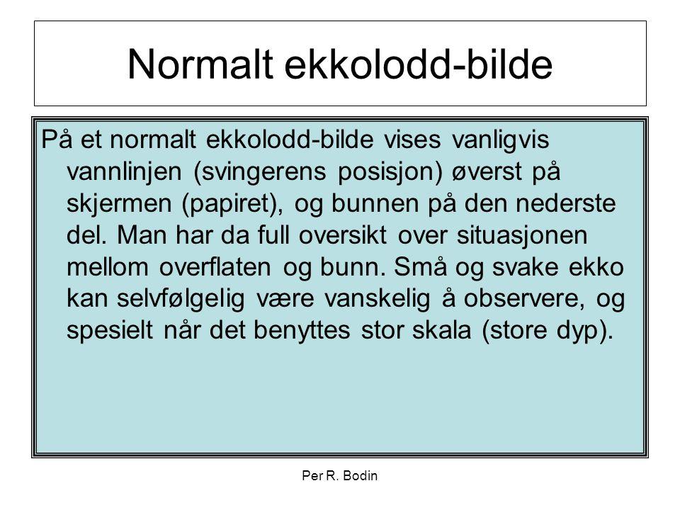 Per R. Bodin Normalt ekkolodd-bilde På et normalt ekkolodd-bilde vises vanligvis vannlinjen (svingerens posisjon) øverst på skjermen (papiret), og bun