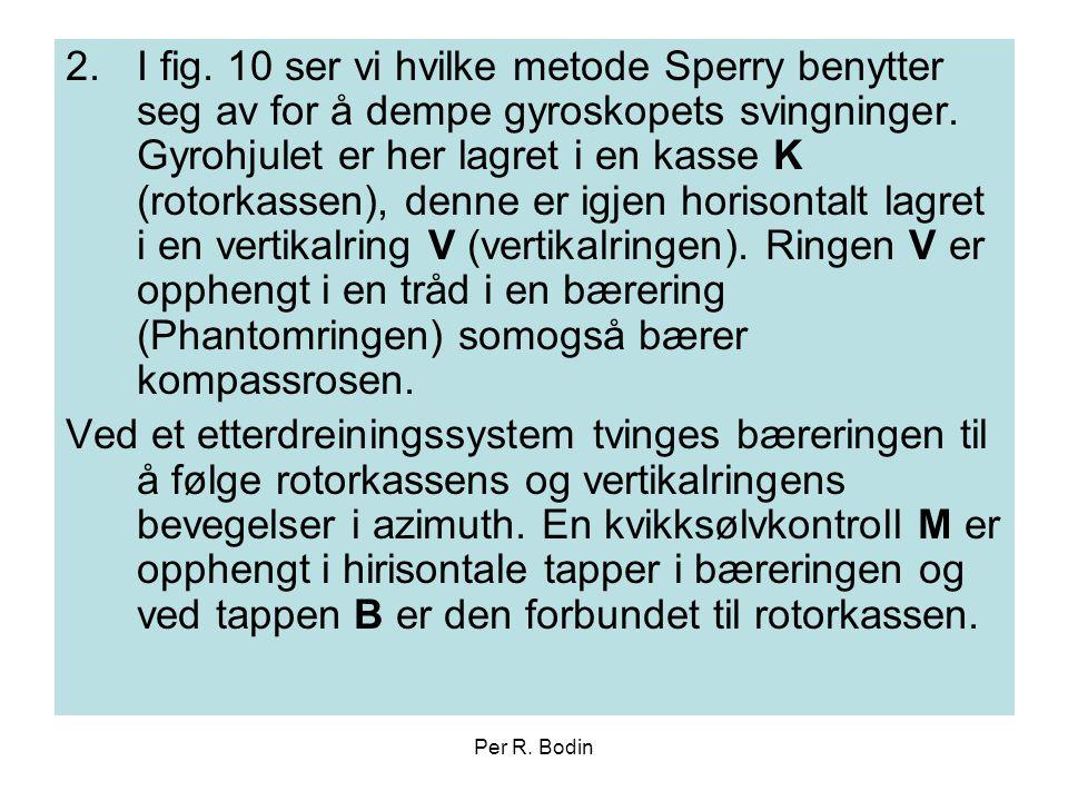 Per R. Bodin 2.I fig. 10 ser vi hvilke metode Sperry benytter seg av for å dempe gyroskopets svingninger. Gyrohjulet er her lagret i en kasse K (rotor