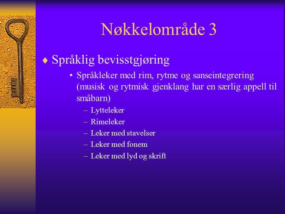 Nøkkelområde 3  Språklig bevisstgjøring Språkleker med rim, rytme og sanseintegrering (musisk og rytmisk gjenklang har en særlig appell til småbarn)