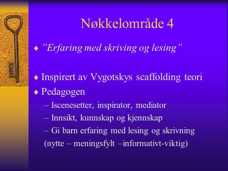 Nøkkelområde 4  Erfaring med skriving og lesing  Inspirert av Vygotskys scaffolding teori  Pedagogen –Iscenesetter, inspirator, mediator –Innsikt, kunnskap og kjennskap –Gi barn erfaring med lesing og skrivning (nytte – meningsfylt –informativt-viktig)