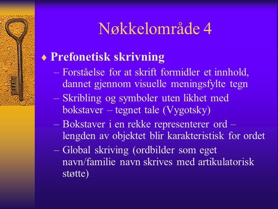 Nøkkelområde 4  Prefonetisk skrivning –Forståelse for at skrift formidler et innhold, dannet gjennom visuelle meningsfylte tegn –Skribling og symbole