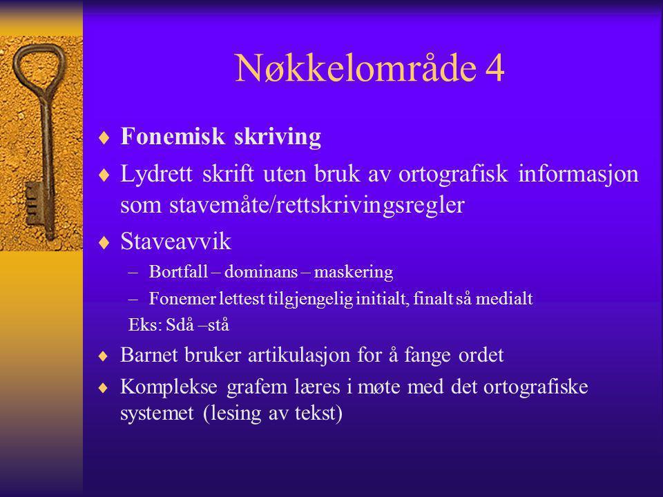 Nøkkelområde 4  Fonemisk skriving  Lydrett skrift uten bruk av ortografisk informasjon som stavemåte/rettskrivingsregler  Staveavvik –Bortfall – do