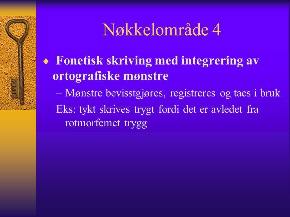Nøkkelområde 4  Fonetisk skriving med integrering av ortografiske mønstre –Mønstre bevisstgjøres, registreres og taes i bruk Eks: tykt skrives trygt