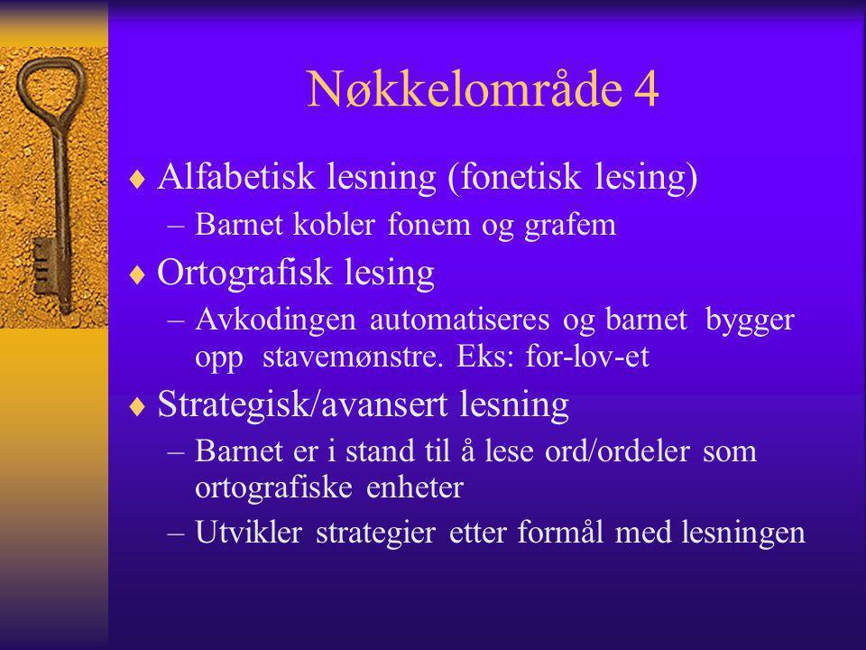 Nøkkelområde 4  Alfabetisk lesning (fonetisk lesing) –Barnet kobler fonem og grafem  Ortografisk lesing –Avkodingen automatiseres og barnet bygger opp stavemønstre.