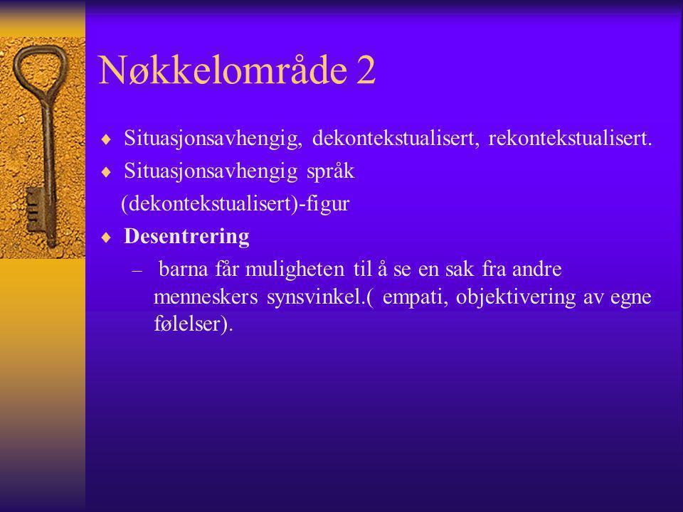 Nøkkelområde 2  Situasjonsavhengig, dekontekstualisert, rekontekstualisert.  Situasjonsavhengig språk (dekontekstualisert)-figur  Desentrering – ba