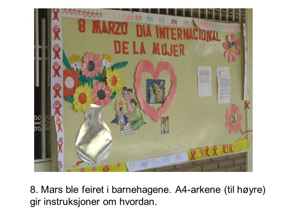 8. Mars ble feiret i barnehagene. A4-arkene (til høyre) gir instruksjoner om hvordan.