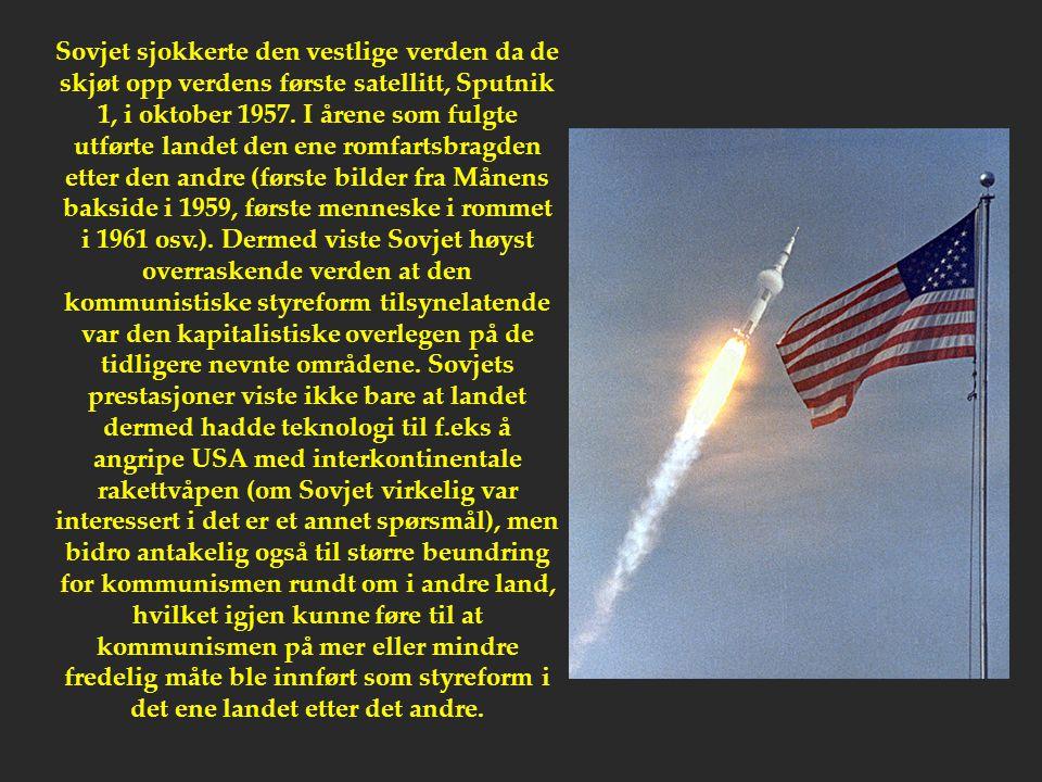 Sovjet sjokkerte den vestlige verden da de skjøt opp verdens første satellitt, Sputnik 1, i oktober 1957. I årene som fulgte utførte landet den ene ro