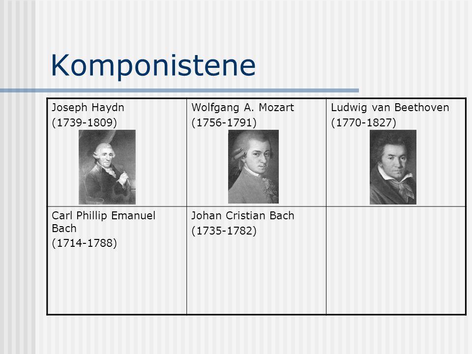 Komponistene Joseph Haydn (1739-1809) Wolfgang A. Mozart (1756-1791) Ludwig van Beethoven (1770-1827) Carl Phillip Emanuel Bach (1714-1788) Johan Cris