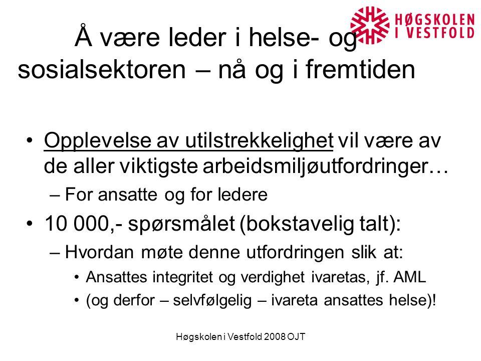 Høgskolen i Vestfold 2008 OJT Av-tabuisering av utilstrekkelighet At man ikke får gjort det man burde (ikke bare ifh.