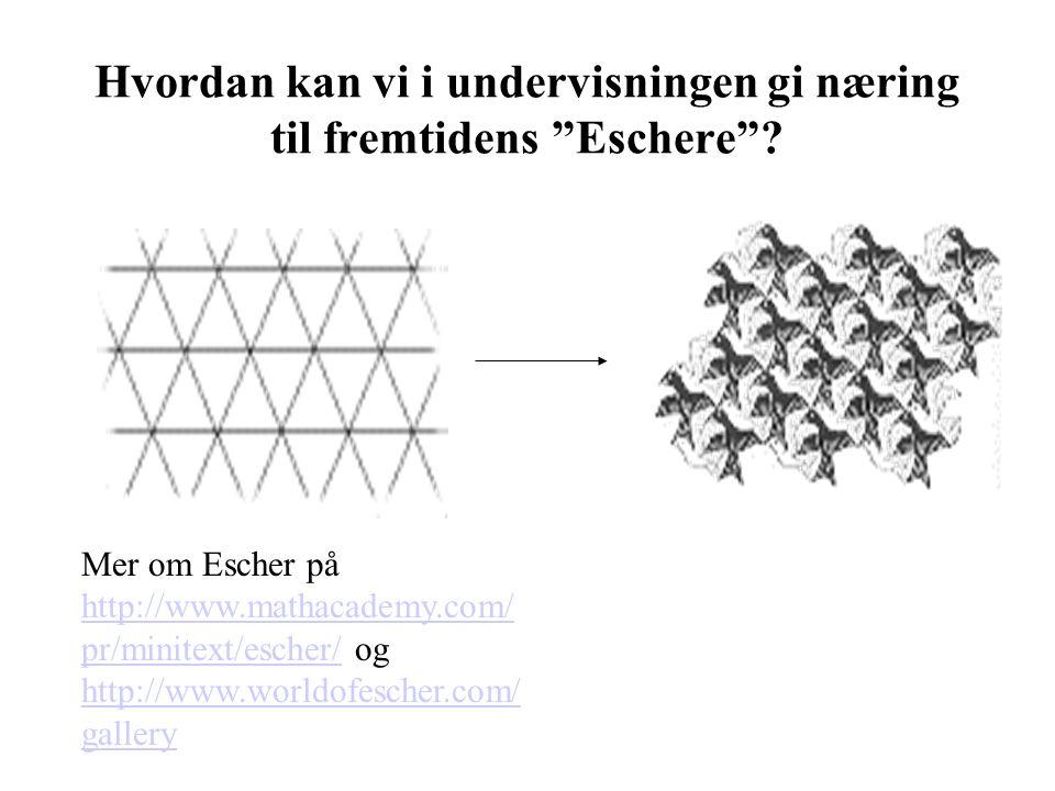 """Hvordan kan vi i undervisningen gi næring til fremtidens """"Eschere""""? Mer om Escher på http://www.mathacademy.com/ pr/minitext/escher/ og http://www.wor"""