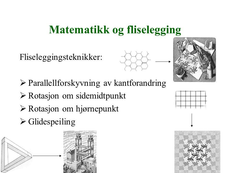 Matematikk og fliselegging Fliseleggingsteknikker:  Parallellforskyvning av kantforandring  Rotasjon om sidemidtpunkt  Rotasjon om hjørnepunkt  Gl