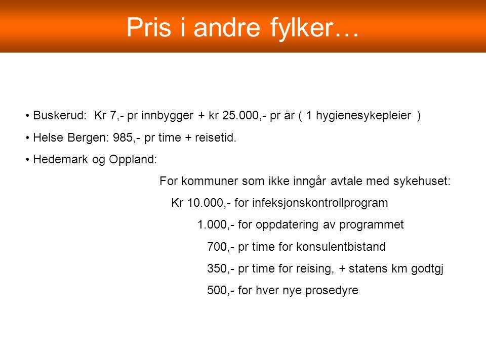 Pris i andre fylker… Buskerud: Kr 7,- pr innbygger + kr 25.000,- pr år ( 1 hygienesykepleier ) Helse Bergen: 985,- pr time + reisetid. Hedemark og Opp