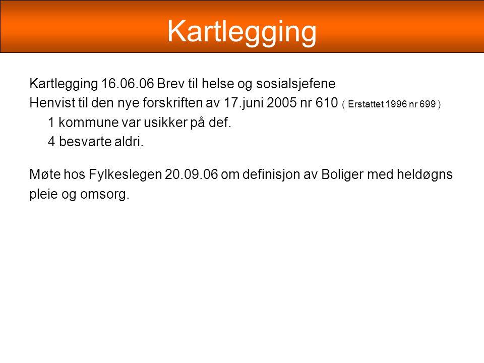Kartlegging Kartlegging 16.06.06 Brev til helse og sosialsjefene Henvist til den nye forskriften av 17.juni 2005 nr 610 ( Erstattet 1996 nr 699 ) 1 kommune var usikker på def.