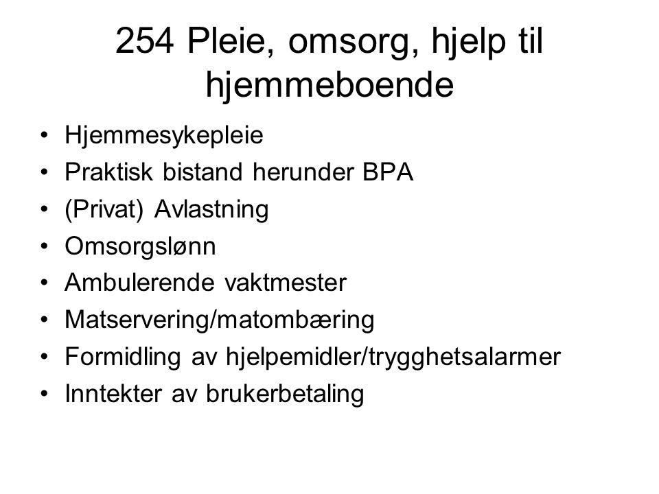 254 Pleie, omsorg, hjelp til hjemmeboende Hjemmesykepleie Praktisk bistand herunder BPA (Privat) Avlastning Omsorgslønn Ambulerende vaktmester Matserv