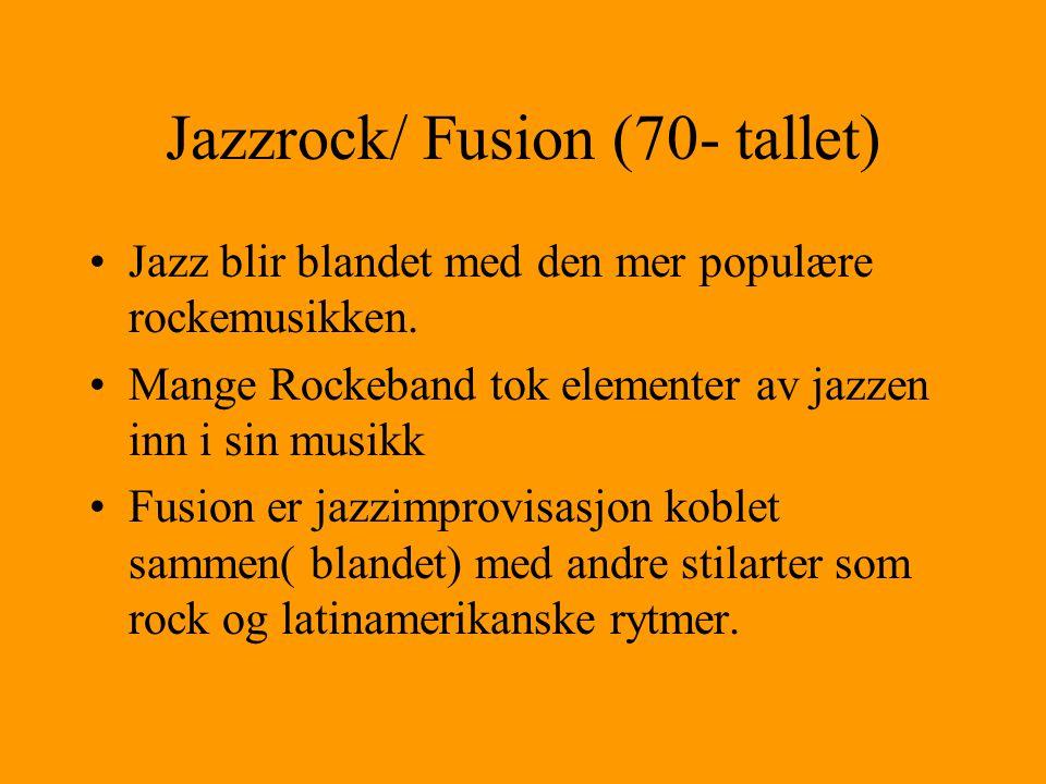 """Fri jazzen (60- tallet) Eksperimentell jazz med fri form, også kalt """"freebag"""" Modal improvisasjon- brukte skalaer i stedet for harmonier Gikk bort fra"""