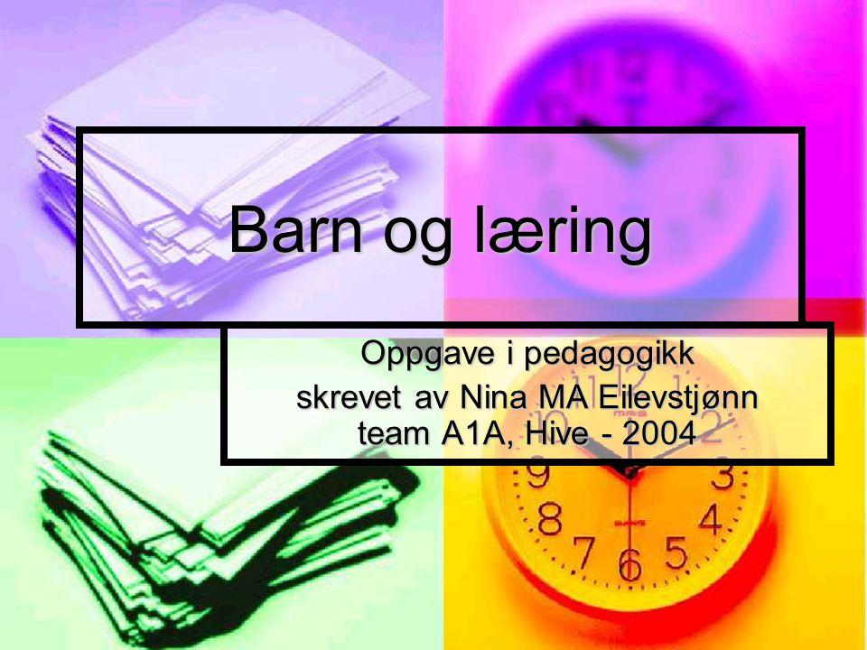 Barn og læring Oppgave i pedagogikk skrevet av Nina MA Eilevstjønn team A1A, Hive - 2004